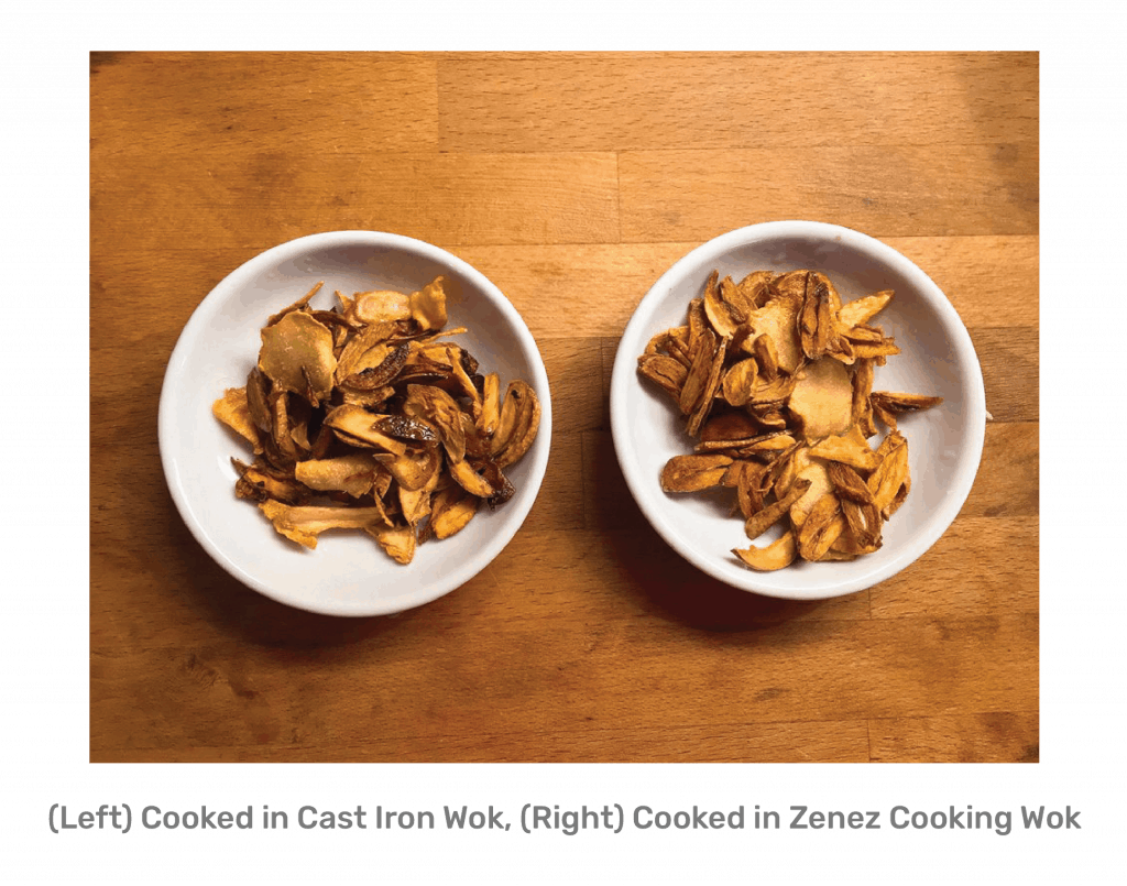 Zenez Cooking Wok Review - Garlic and Ginger Cooked in Cast Iron Wok vs Zenez Cooking Wok