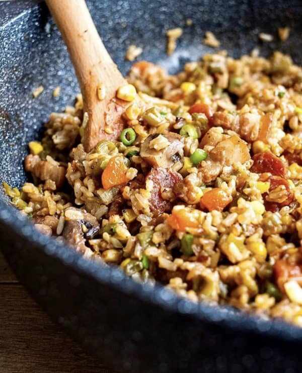 One-Pot Brown Rice with Pork and Veggie Recipe by Jen Jen - Header